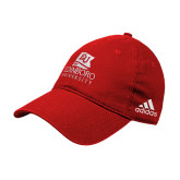 Adidas Red Slouch Unstructured Low Profile Hat-University Logo Vertical
