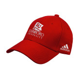 Adidas Red Structured Adjustable Hat-University Logo Vertical