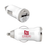 On the Go White Car Charger-University Logo Vertical