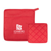 Quilted Canvas Red Pot Holder-University Logo Vertical