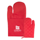 Quilted Canvas Red Oven Mitt-University Logo Vertical