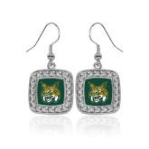 Crystal Studded Square Pendant Silver Dangle Earrings-Bobcat Head