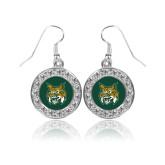 Crystal Studded Round Pendant Silver Dangle Earrings-Bobcat Head