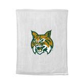 White Rally Towel-Bobcat Head