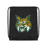 Black Drawstring Backpack-Bobcat Head