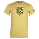 Champion Vegas Gold T Shirt-Primary Athletic Mark Distressed