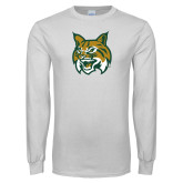 White Long Sleeve T Shirt-Bobcat Head