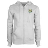 ENZA Ladies White Fleece Full Zip Hoodie-Bobcat Head