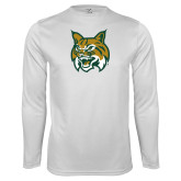 Performance White Longsleeve Shirt-Bobcat Head