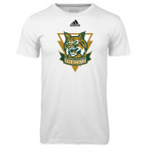 Adidas Climalite White Ultimate Performance Tee-Primary Athletic Mark