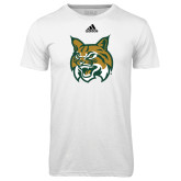 Adidas Climalite White Ultimate Performance Tee-Bobcat Head