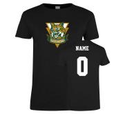 Ladies Black T Shirt-Primary Athletic Mark, Custom Tee w/ Name and #