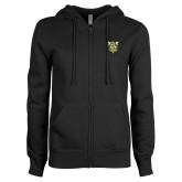 ENZA Ladies Black Fleece Full Zip Hoodie-Primary Athletic Mark