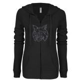 ENZA Ladies Black Light Weight Fleece Full Zip Hoodie-Bobcat Head Graphite Soft Glitter
