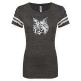 ENZA Ladies Black/White Vintage Football Tee-Bobcat Head White Soft Glitter