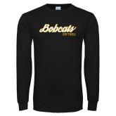 Black Long Sleeve T Shirt-Softball Script