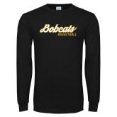 Black Long Sleeve T Shirt-Basketball Script