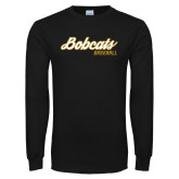 Black Long Sleeve T Shirt-Baseball Script