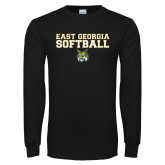 Black Long Sleeve T Shirt-East Georgia Basketball In Ball
