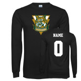Black Long Sleeve T Shirt-Primary Athletic Mark, Custom Tee w/ Name and #