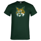Dark Green T Shirt-Bobcat Head