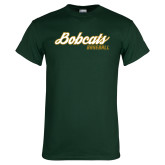 Dark Green T Shirt-Baseball Script