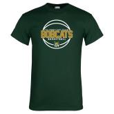 Dark Green T Shirt-East Georgia Basketball In Ball