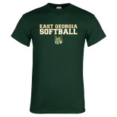 Dark Green T Shirt-East Georgia Basketball In Ball