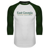 White/Dark Green Raglan Baseball T Shirt-Primary Mark
