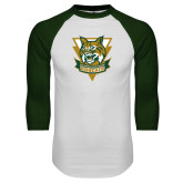 White/Dark Green Raglan Baseball T Shirt-Primary Athletic Mark