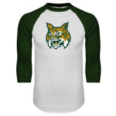 White/Dark Green Raglan Baseball T Shirt-Bobcat Head