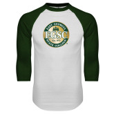 White/Dark Green Raglan Baseball T Shirt-Shield