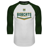 White/Dark Green Raglan Baseball T Shirt-Baseball Plate Design