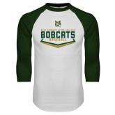 White/Dark Green Raglan Baseball T Shirt-Baseball Plate Design