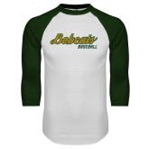White/Dark Green Raglan Baseball T Shirt-Baseball Script