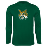 Performance Dark Green Longsleeve Shirt-Bobcat Head