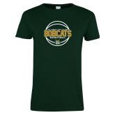 Ladies Dark Green T Shirt-East Georgia Basketball In Ball