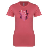 Next Level Ladies SoftStyle Junior Fitted Pink Tee-Primary Athletic Mark  Foil