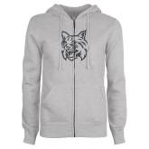 ENZA Ladies Grey Fleece Full Zip Hoodie-Bobcat Head Graphite Soft Glitter