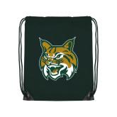 Dark Green Drawstring Backpack-Bobcat Head