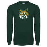 Dark Green Long Sleeve T Shirt-Bobcat Head