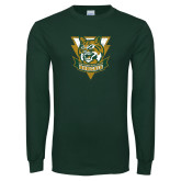 Dark Green Long Sleeve T Shirt-Primary Athletic Mark Distressed