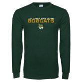 Dark Green Long Sleeve T Shirt-East Georgia State Bobcats Stacked