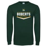 Dark Green Long Sleeve T Shirt-Baseball Plate Design