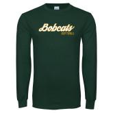 Dark Green Long Sleeve T Shirt-Softball Script