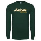 Dark Green Long Sleeve T Shirt-Basketball Script