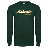 Dark Green Long Sleeve T Shirt-Baseball Script