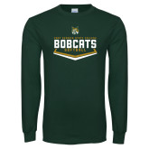 Dark Green Long Sleeve T Shirt-Softball Plate Design