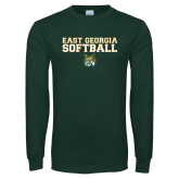 Dark Green Long Sleeve T Shirt-East Georgia Basketball In Ball