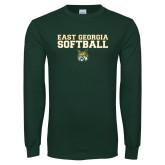 Dark Green Long Sleeve T Shirt-East Georgia Basketball In Ball